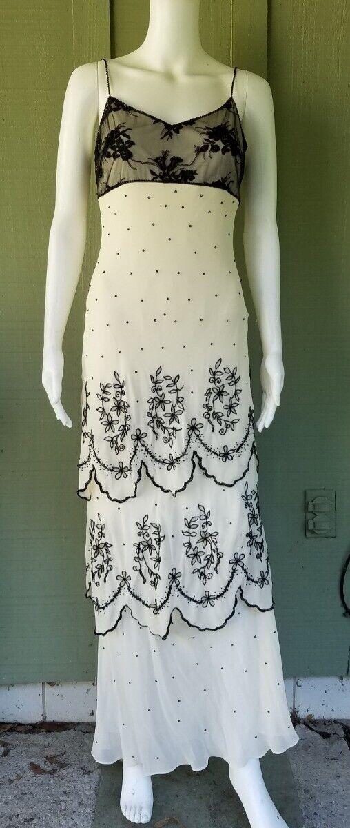 SUE WONG Nocturne Ivory Silk schwarz Beaded Tierot Evening Gown Dress 6