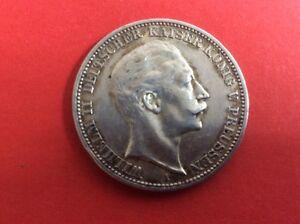 Silber Münze Drei Mark Wilhelm Ii Deutscher Kaiser König V Preußen