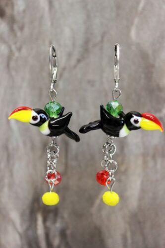 Glass Jewels Edelstahl Ohrringe Tukan Paradiesvögel  Lampwork Handarbeit #C011