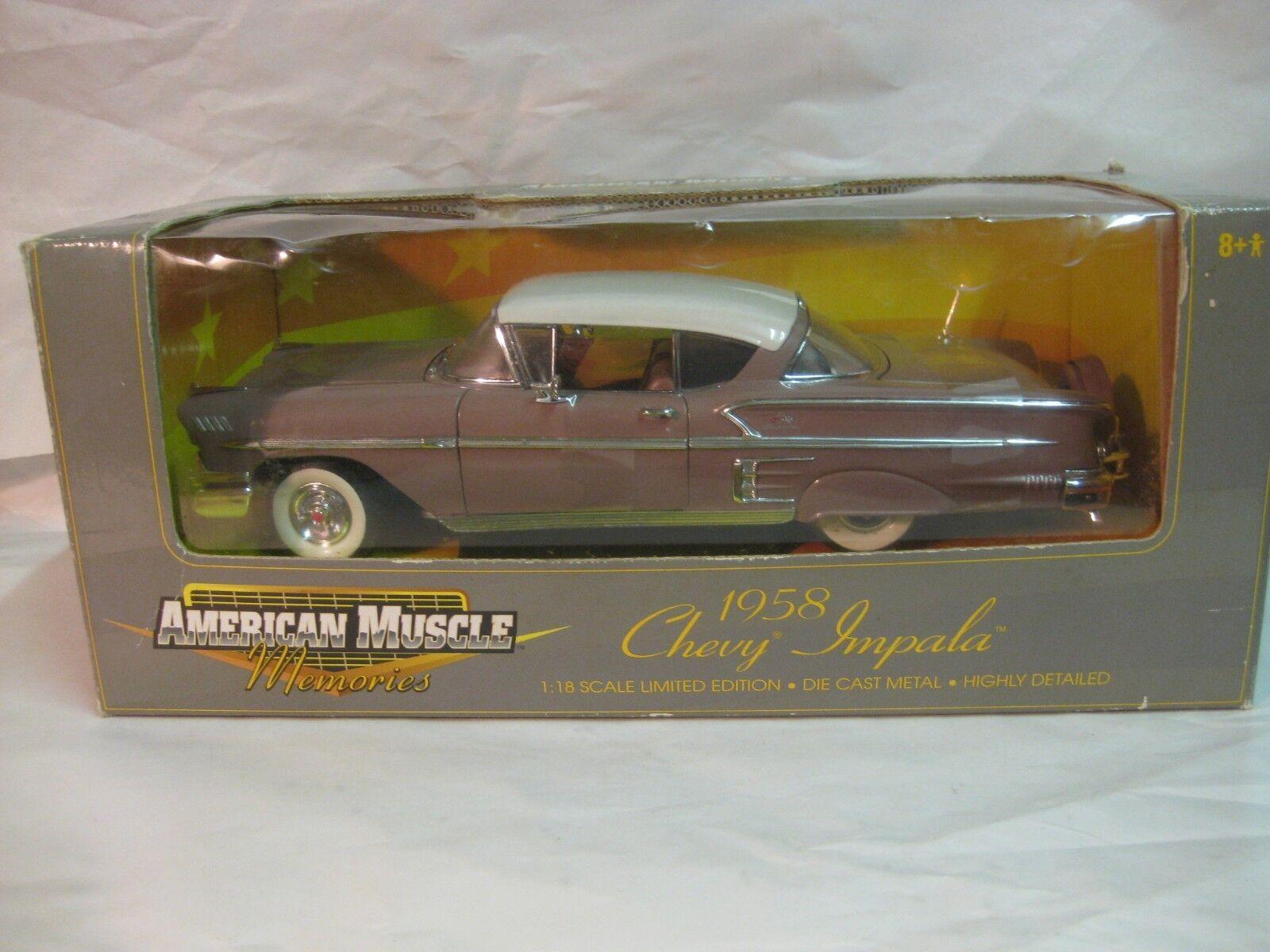 American Muscle 1958 Chevy Impala dans un Crème 118 à L'Échelle Miniature Ertl