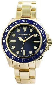 Excellanc-Herrenuhr-Blau-Gold-Analog-Metall-Quarz-Armbanduhr-X2800058002