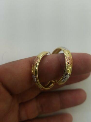 14k or Massif Boucles d/'oreilles Créoles Diamond Cut Cœurs 1.25 in Long Moyen environ 3.17 cm