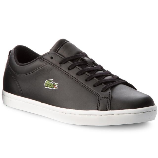 dc5e58c74ec5 Lacoste Straightset Black Leather Trainers UK 11   Brand New In Box