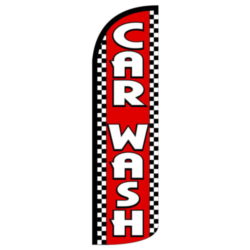 Car Wash Red Checker Extra Wide Windless Swooper Flag