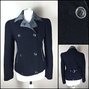 c7935375 Details about Armani Collezioni Ladies Black 100% Wool Jacket Coat Blazer  Size 40 UK 8 10 S M
