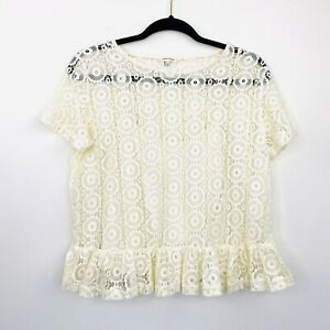 River-Island-Womens-Top-Blouse-Cream-Lace-Cropped-Short-Sleeve-Size-12