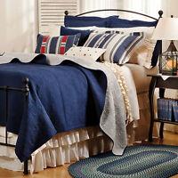 Indigo Blue Matelasse Twin (single) Quilt Set : 100% Cotton Navy Tile Coverlet