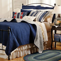 Navy Blue Matelasse Twin (single) Quilt Set : Cotton Denim White Ticking Stripe