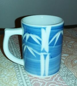 Japanese Mug with Lid bamboo motif,Blue