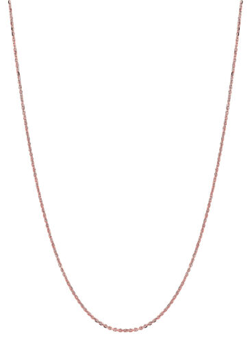 """14K Solid Rose Pink Gold Cable Link Chain Necklace 1.1mm 16/"""",18/"""" 20/"""""""