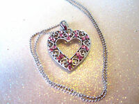 Pink Crystal Heart Necklace 14 Inch