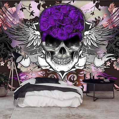 Vlies Fototapete Totenkopf Oldschool Tapete Rosen Wandbilder xxl a-C-0111-a-a