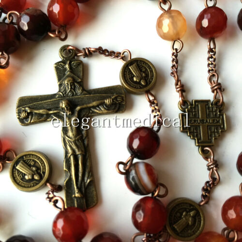 Agate & St. Saint Benedict Bead catholic Rosary Necklace Italy Cross crucifix