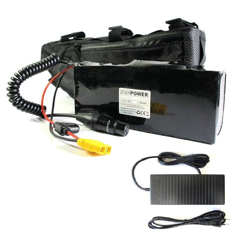 Enerpower batería Li-ion 48v 13s5p 35e 17,1ah Pedelec ebike + bolsa + Cochegador 2a