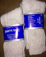 6 Pair Men's Gray Diabetic Socks King Size 13-15 Cotton Casual Crew Grey Usa