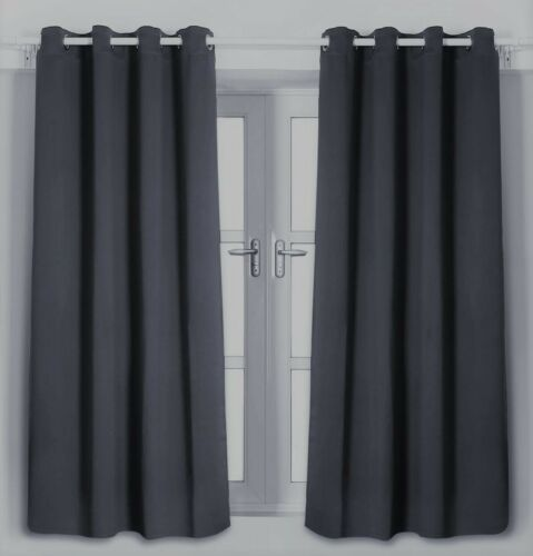 Black or Grey Various Sizes 2 x Blackout Curtain Opaque with Eyelets