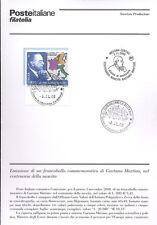ITALIA 2000 GAETANO MARTINO  BOLLETTINO COMPLETO DI FRANCOBOLLI FDC