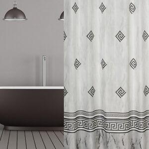 Rideau de douche en tissu gris blanc Ornement 180x180 incl. anneaux ...