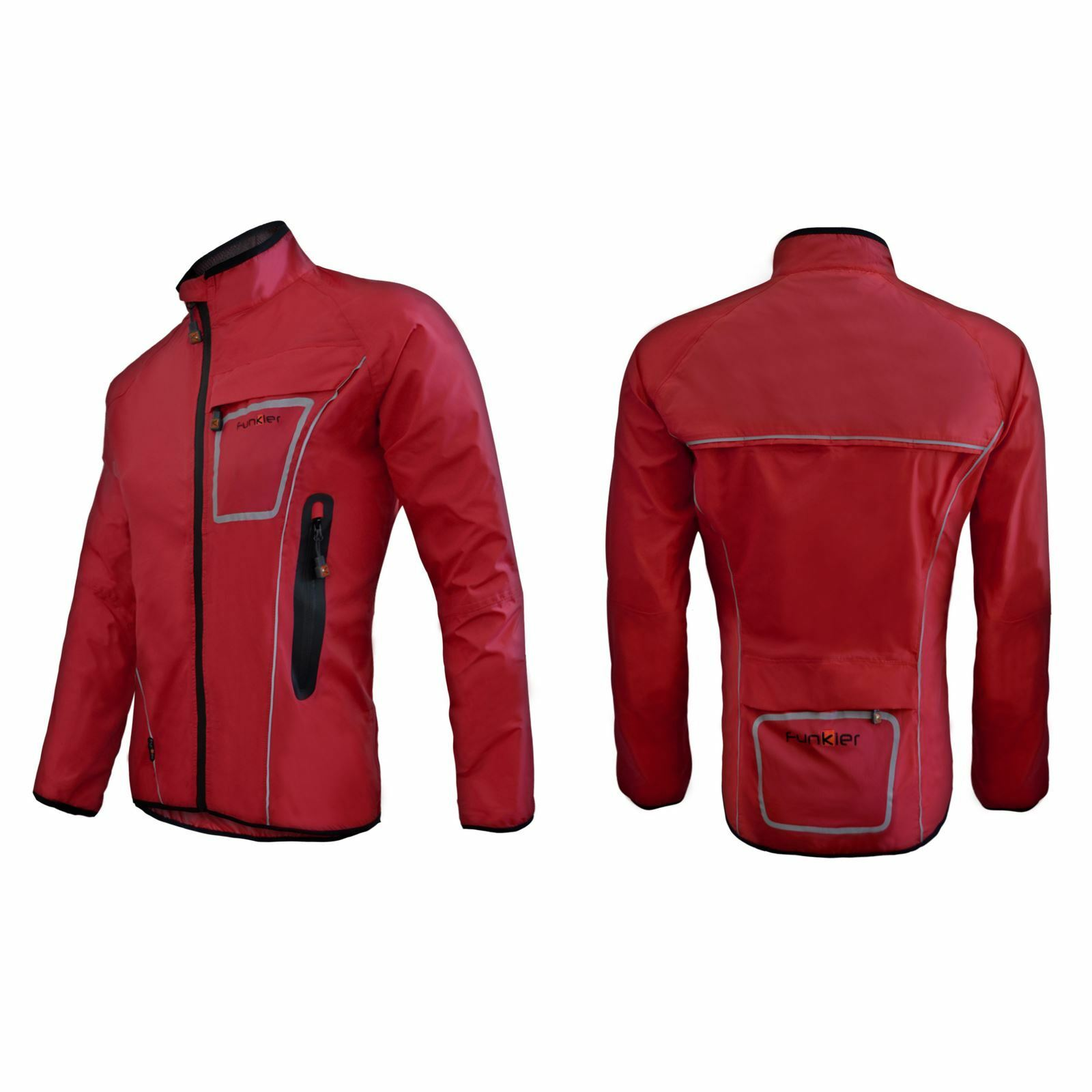 Funkier ciclón WJ-1317 Impermeable Chaqueta para lluvia totalmente Costuras Selladas Rojo XXX-grande