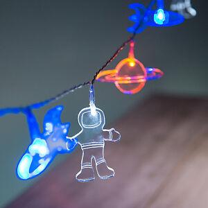12er LED Acryl Lichterkette Astronaut Rakete Kinder Deko Beleuchtung ...