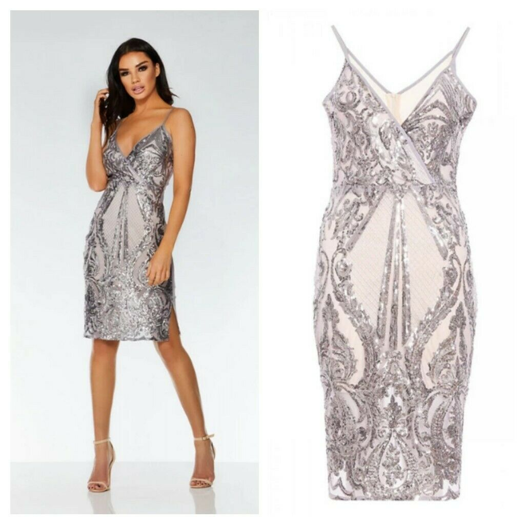 QUIZ SIZE 10 STYLISH SEQUIN WRAP BUST BODYCON OCCASION DRESS BNWT RRP  @ NEXT