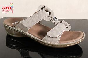 ARA-Sandalias-zapato-abierto-piel-autentica-gris-CIERRE-ADHESIVO-27273-NUEVO