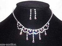 Bridal Clear And Pink Crystal Necklace & Earrings Set