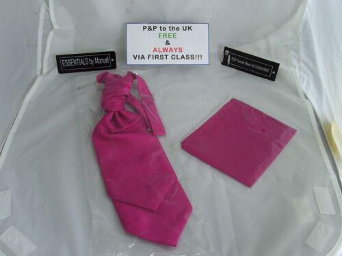 /<Grosgrain/>Shocking Pink BOYS Scrunchie Ruche Wedding Tie-Cravat and Hankie Set