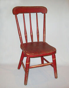 Original-Antique-19th-C-1850s-Rod-Back-Windsor-Youth-Chair-Original-Red-Paint