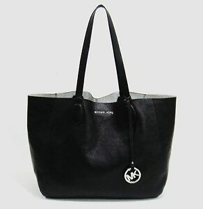Details about Michael Kors Mae Black & Silver Leather Reversible EastWest Tote Bag