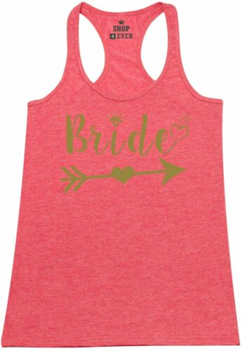 Gold Bride With Heart Racerback Tank Top Marriage Bachelorette Party Tee