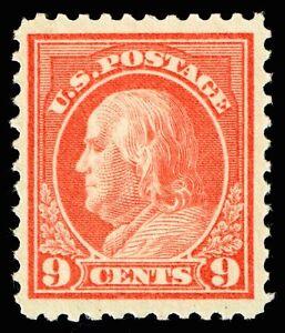US Stamp SC # 509 Mint OG NH 9c Franklin 1917 Flat Plate Printing (perf. 11)