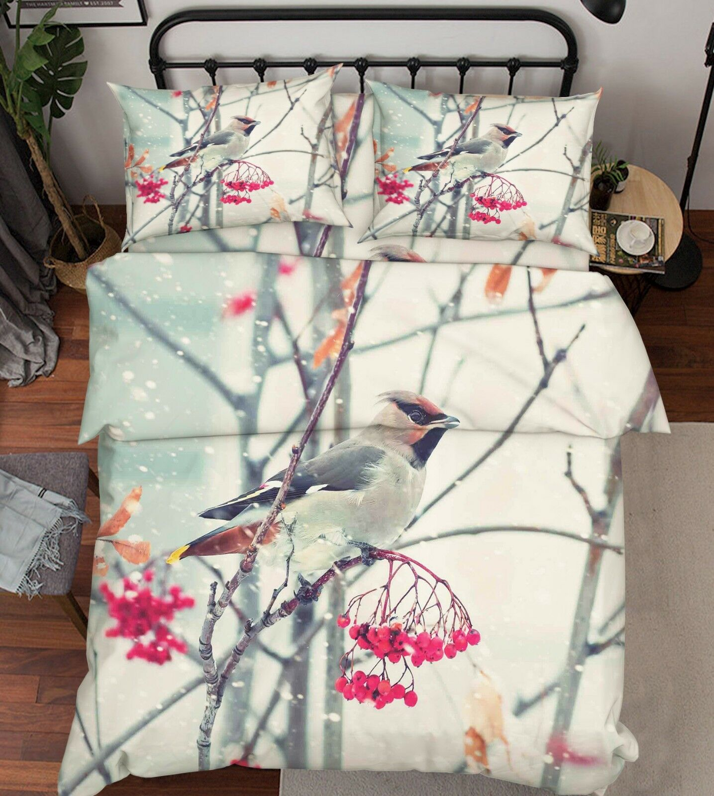 3D Tree Bird Winter 3 Bett Pillowcases Quilt Duvet Startseite Set Single Königin König