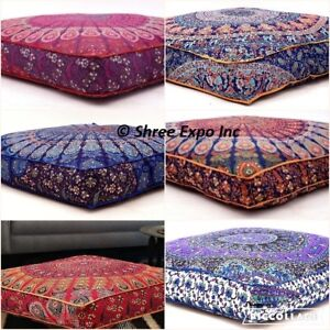 Details About 5pc Wholesale Lot Floor Cushions Outdoor Daybed Indian Ottoman Pouf Covers Large
