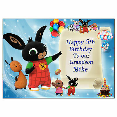 Large Bunny Personalised Birthday card; to Any age name for little or big d649