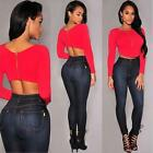 Women Long Sleeve Clothes Crop Top T-shirt Party Zipper Clubwear Cropped Blouse