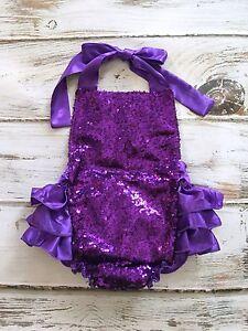 d96479d6e337 Image is loading Baby-Purple-Sequin-Romper-Purple-Ruffle-Romper-Sequin-