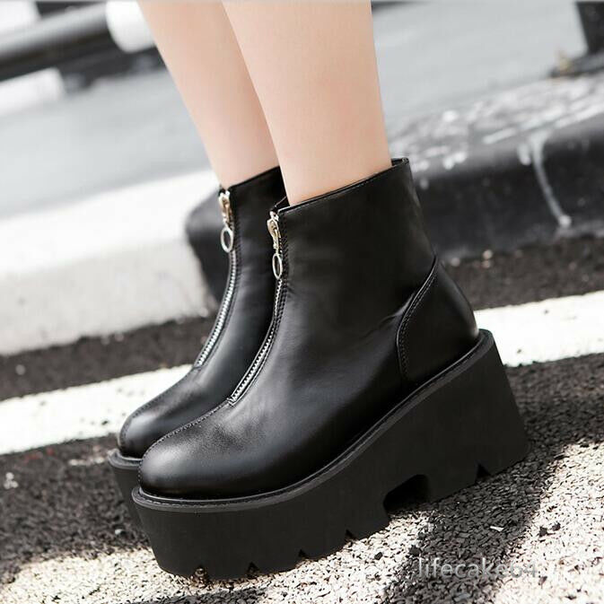 Damen Schuhe Stiefeletten Platform Keilabsatz Dicker Sohlen