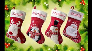 Personnalisé Noël Luxe Stocking Rouge /& Blanc Top Qualité 4 Caractères Neuf