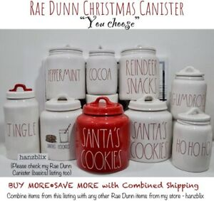 Rae-Dunn-Canister-SANTA-039-S-COOKIES-COCOA-REINDEER-SNACKS-Christmas-034-U-CHOOSE-034-039-19
