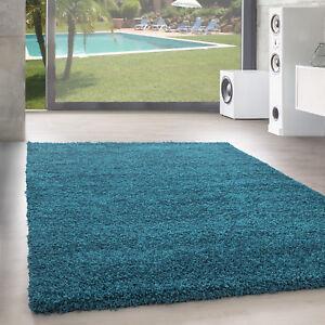 Hochflor Teppich Shaggy Langflor Uni Einfarbig Wohnzimmer Turkis