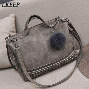Leather Stud Women's Faux Shopping Handbag Tote Bags S Shoulder Rivet New QrhCdoBtsx