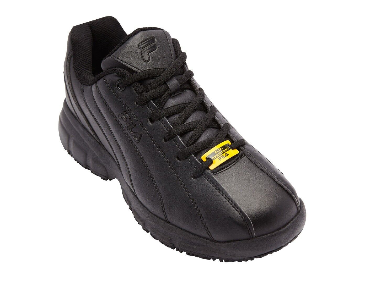 NEW MEN FILA MEMORY NITE SHIFT SR BLACK SLIP RESISTANT LEATHER SHOE 1SC60220-001 The latest discount shoes for men and women