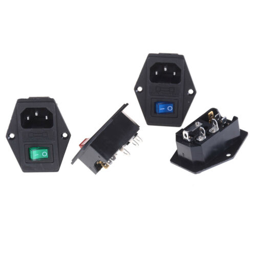10A 250V Inlet Module Plug Fuse Switch Male Power Socket 3 Pin IEC320 C14 TO