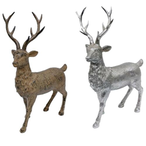 Unicorn  Silver Brown Wooden Look Standing Stag Home Decoration Shabby Ornament