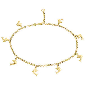 Amicable 10k Gelbgold 2.50mm Rolo Glieder Delphin Charm Fußkettchen Fine Anklets Armband Jewelry & Watches