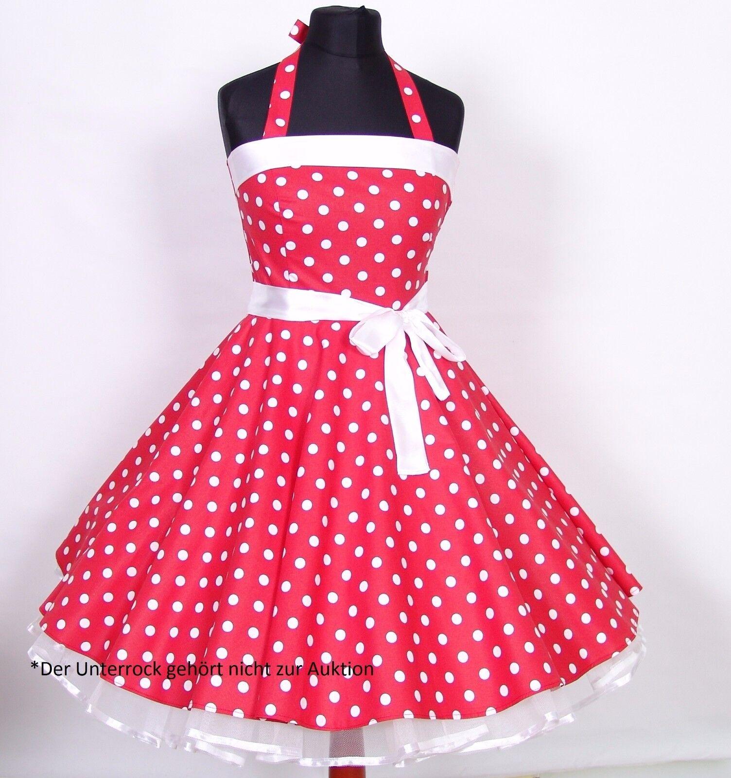 Kleid 50er Jahre Kleid zum Petticoat Abiball, Abend,Partykleid Gr.38-42 Rot weiß