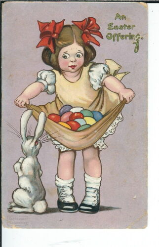 AX062 An Easter Offering, Artist Signed Postcard Katharine Gassaway 19071915