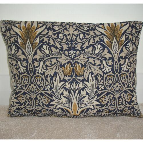 "Housse de coussin William Morris traversin 12x16 snakeshead bleu or 16/""x12/"""
