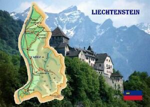 Liechtenstein Country Map New Postcard